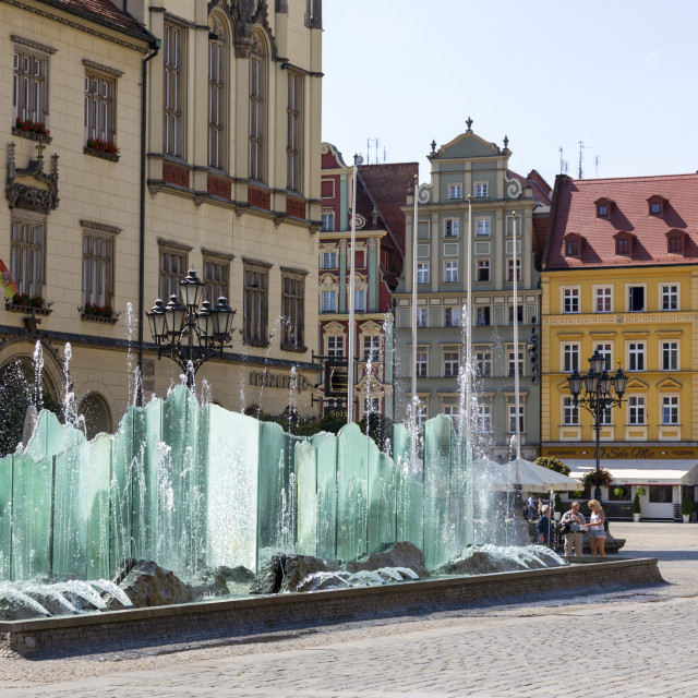 """""""Wroclaw, Poland - July 09, 2018:Beautiful fountain on the market square in Wroclaw, Poland"""" stock image"""