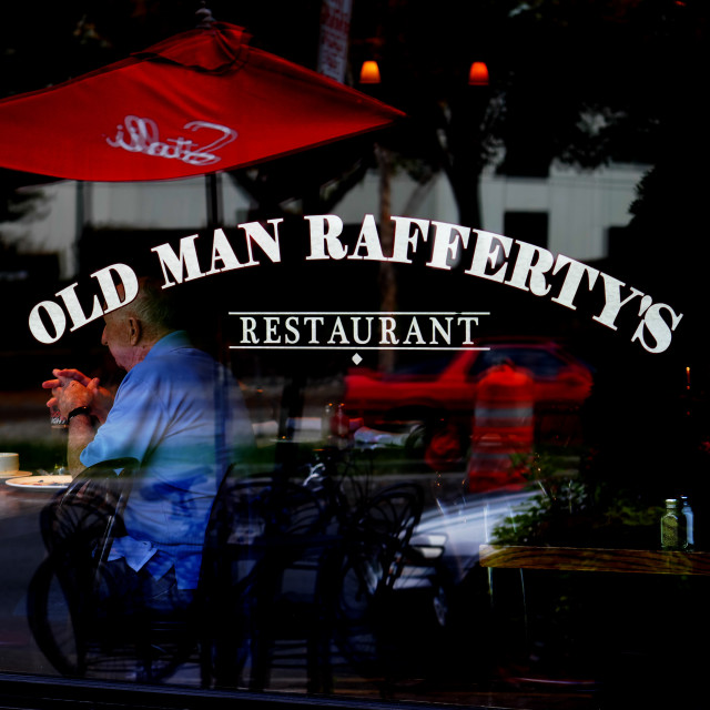 """Old Man at Old Man Rafferty's"" stock image"