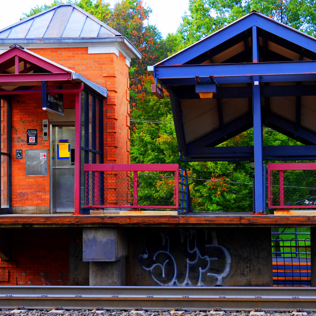 """Colorful Train Platform"" stock image"