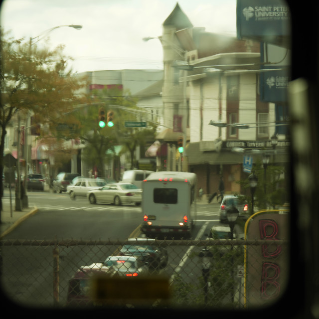 """Through the train window to the street"" stock image"