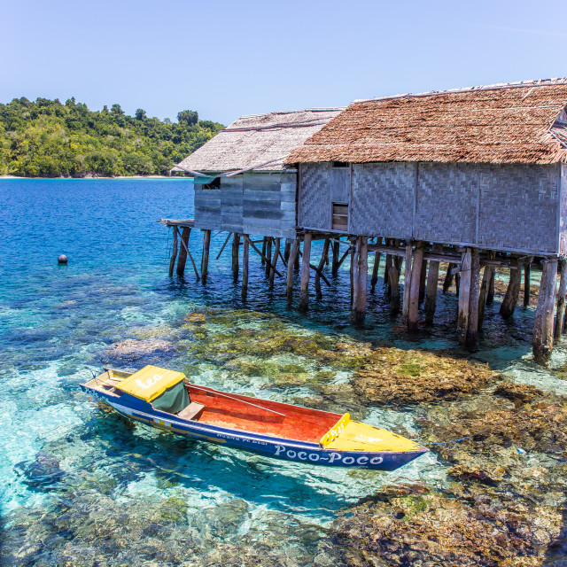 """""""Bajo village in the Togean islands, Sulawesi, Indonesia"""" stock image"""