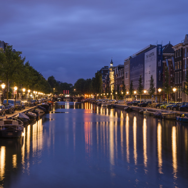 """Spiegelgracht, Amsterdam at night"" stock image"