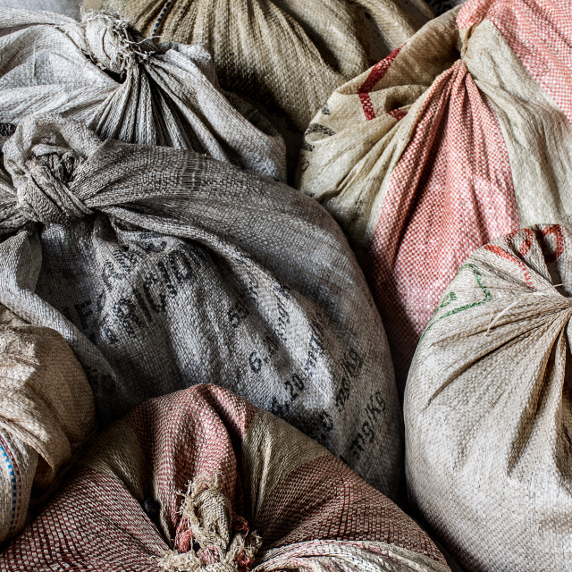 """Sacks of Coffee Beans"" stock image"