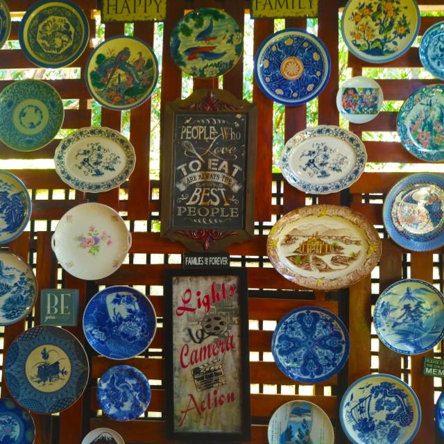 """plates in villa elita"" stock image"