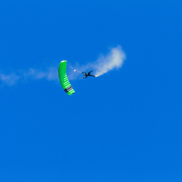 """""""Skydiver Skydiving Open Green Parachute Flight"""" stock image"""
