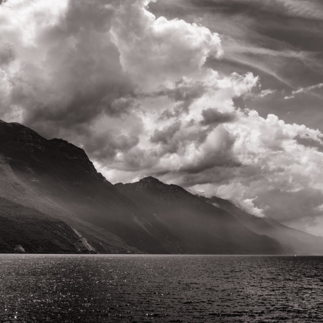 """Clouds over Lake Garda"" stock image"