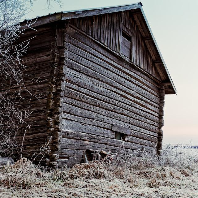 """Frosty Barn Wall"" stock image"