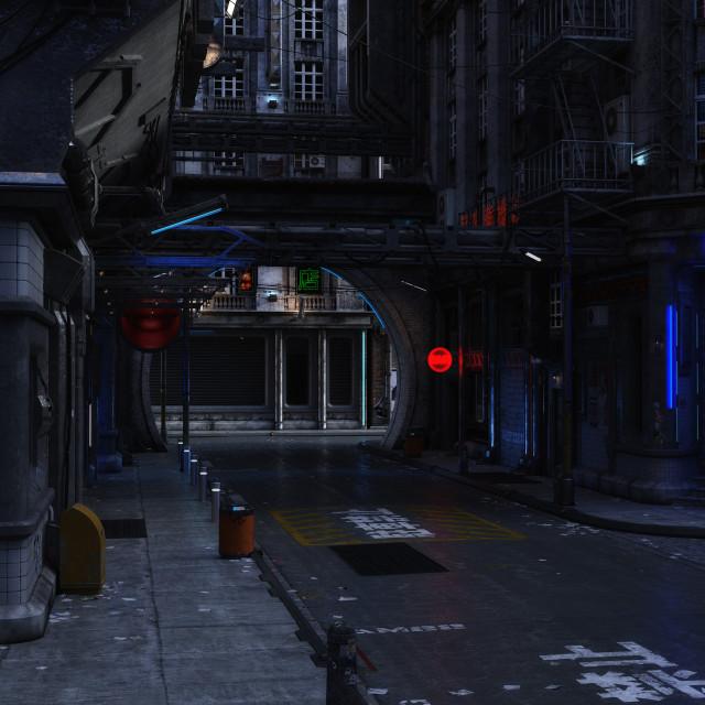 """3D Illustration of a futuristic urban Scene"" stock image"