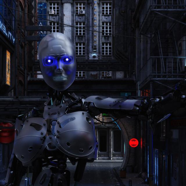 """3D Illustration of a futuristic urban Scene with Cyborg"" stock image"
