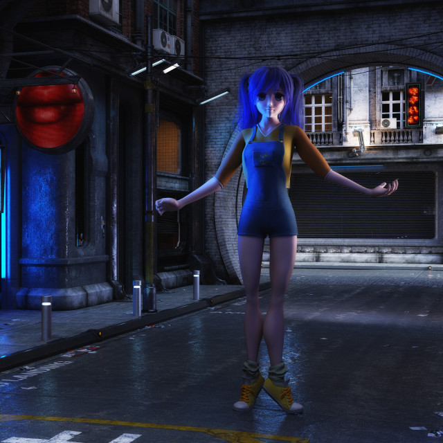 """3D Illustration of a futuristic urban Scene with Manga Girl"" stock image"