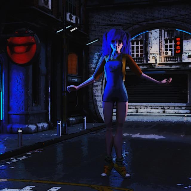 """3D Illustration of a futuristic urban Scene with Manga Girl"" stock image"