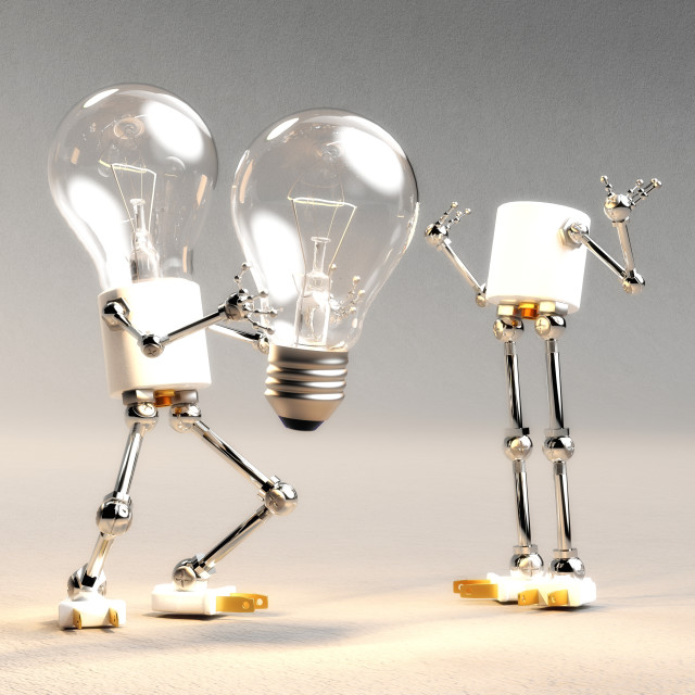 """Digital 3D Illustration of a Light Bulb Guy"" stock image"