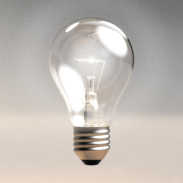 """Digital 3D Illustration of a Light Bulb"" stock image"