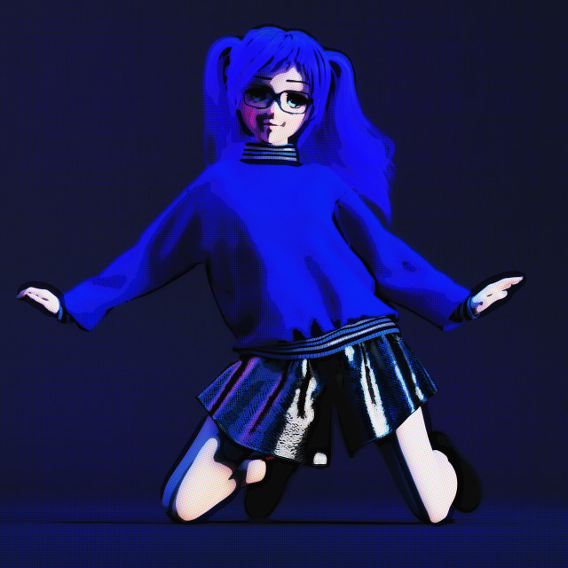 """Digital 3D Illustration of a Manga Girl"" stock image"