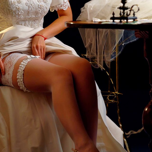 """""""Made-to-measure per bespoke tailoring bridal gown."""" stock image"""