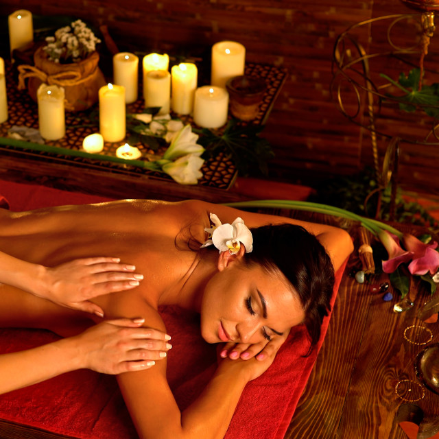 """""""Massage and aromatherapy of woman in oriental renovation"""" stock image"""