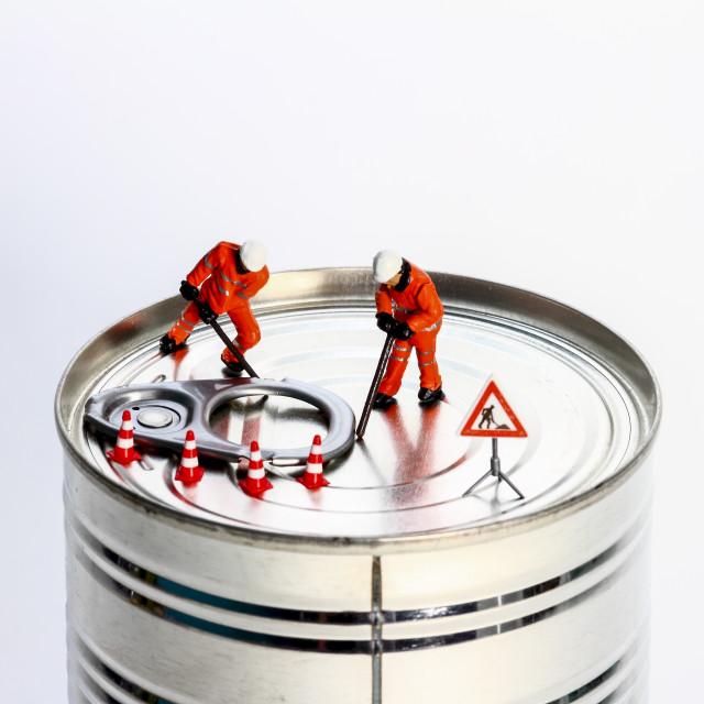 """Conceptual diorama image of miniature figures"" stock image"