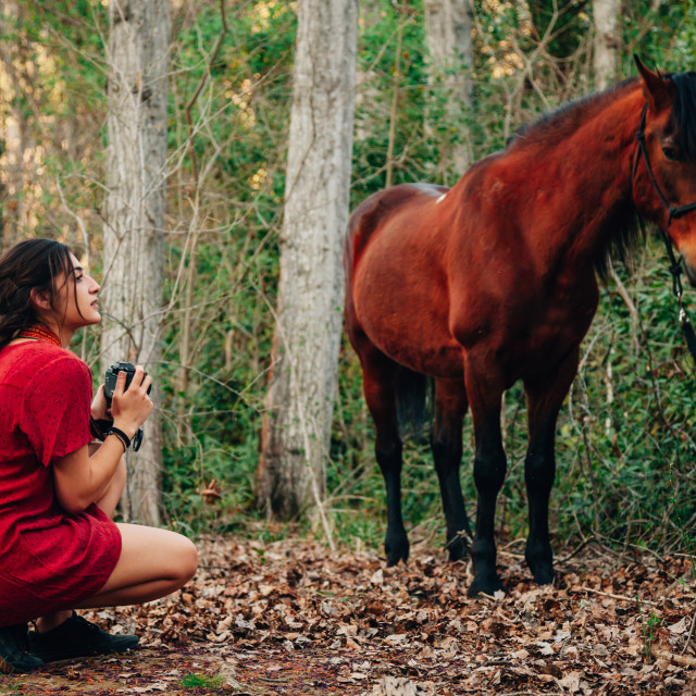 """""""Young woman taking photos in the forest with her horse"""" stock image"""