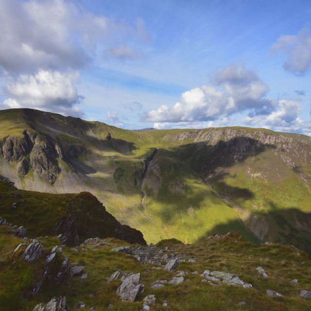 """""""Shadows on Dale Head Crags"""" stock image"""