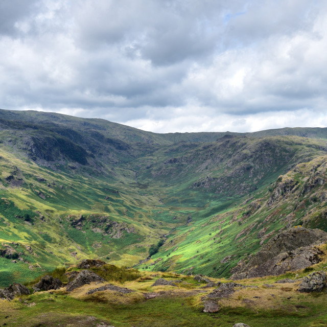 """""""The Far Easedale Valley"""" stock image"""