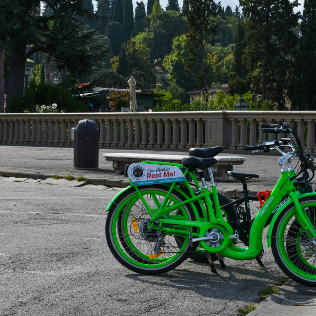 """Electric Bikes in Piazzale Michelangelo"" stock image"