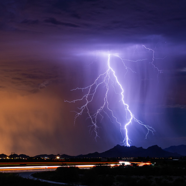 """Lightning over a city"" stock image"