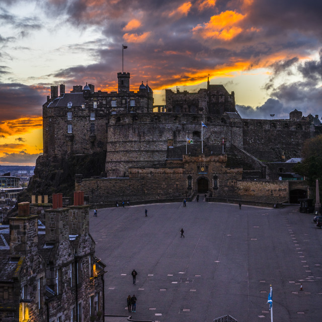 """Sunset over Edinburgh Castle - Edinburgh, Scotland"" stock image"