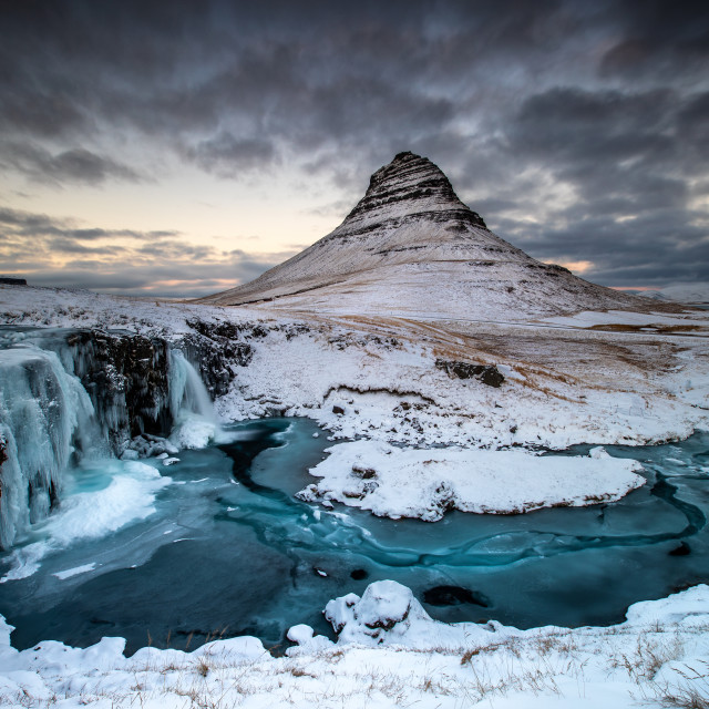 """Kirkjufell Snow Sunset"" stock image"