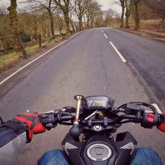"""Handlebar view riding a motorbike."" stock image"