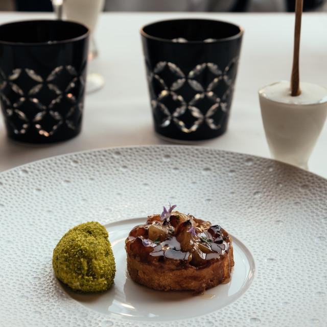 """Beautiful decorated dish of international fusion cuisine"" stock image"