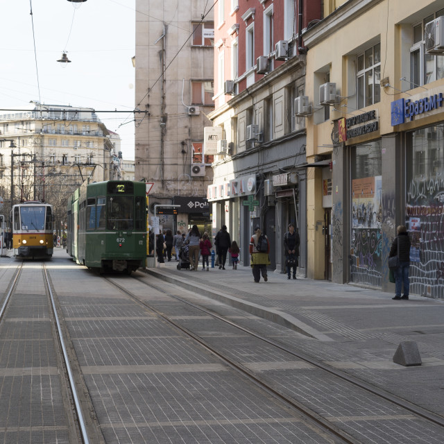 """""""old tramway from socialist times"""" stock image"""
