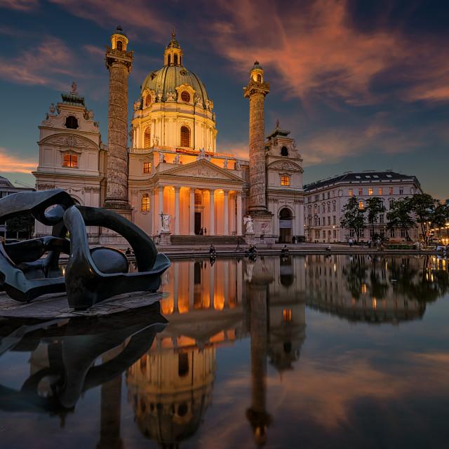 """Sunset in Karlskirche Vienna"" stock image"