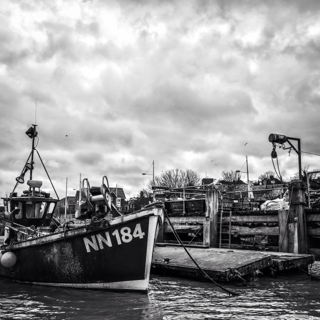"""Fishing boats waiting for work"" stock image"