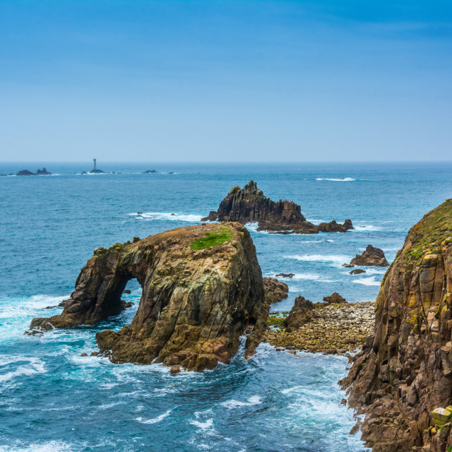 """Lands End and Longships lighthouse"" stock image"