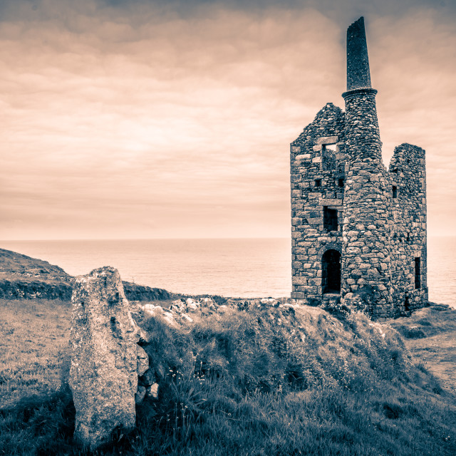 """West Wheal Owles mine at Botallack"" stock image"