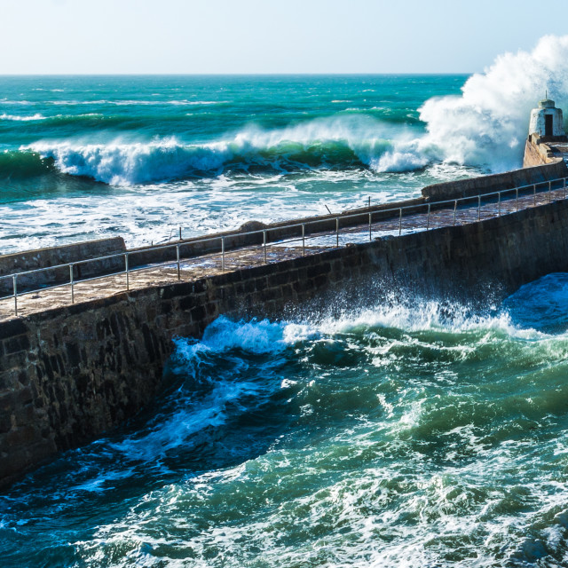 """Waves at Portreath"" stock image"