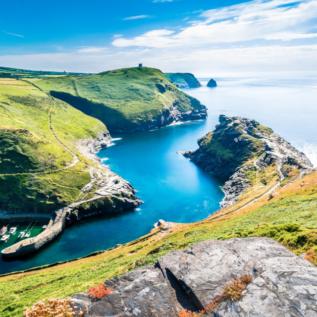 """View over Boscastle Harbour Cornwall"" stock image"