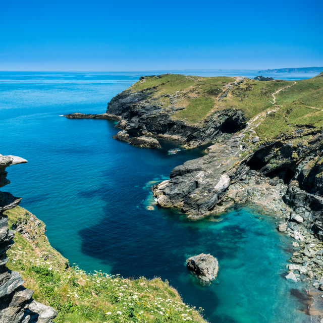 """Coast view from Tintagel Cornwall"" stock image"
