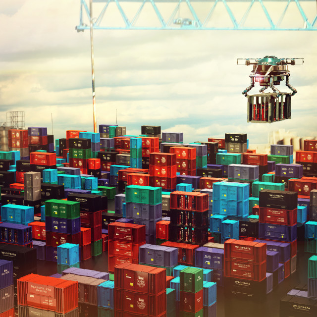 """""""Drone cargo with container freight above city futuristic depot."""" stock image"""