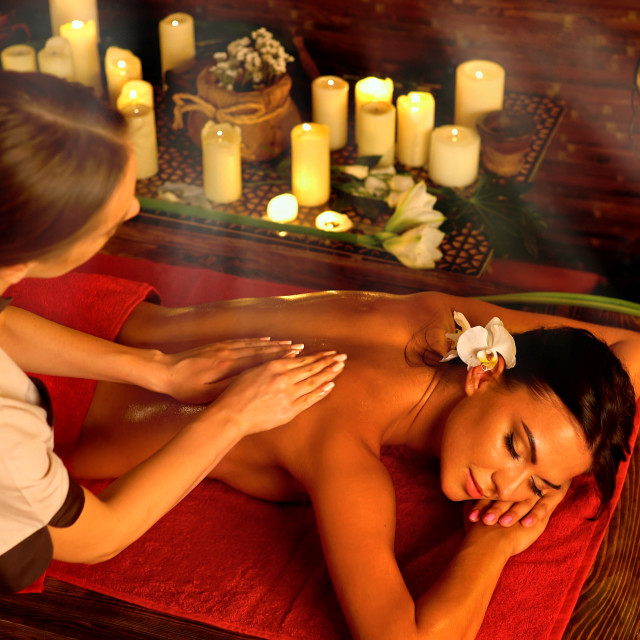 """""""Candlelight massage"""" stock image"""