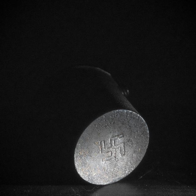 """""""Antique Glue Melting Pot with Swastika symbol"""" stock image"""