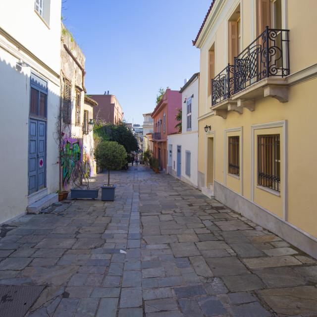 """Street at Plaka District Athens"" stock image"