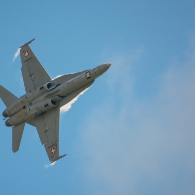 """""""Swiss F18 in action"""" stock image"""