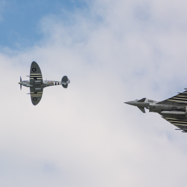 """""""Spitfire and Typhoon together"""" stock image"""