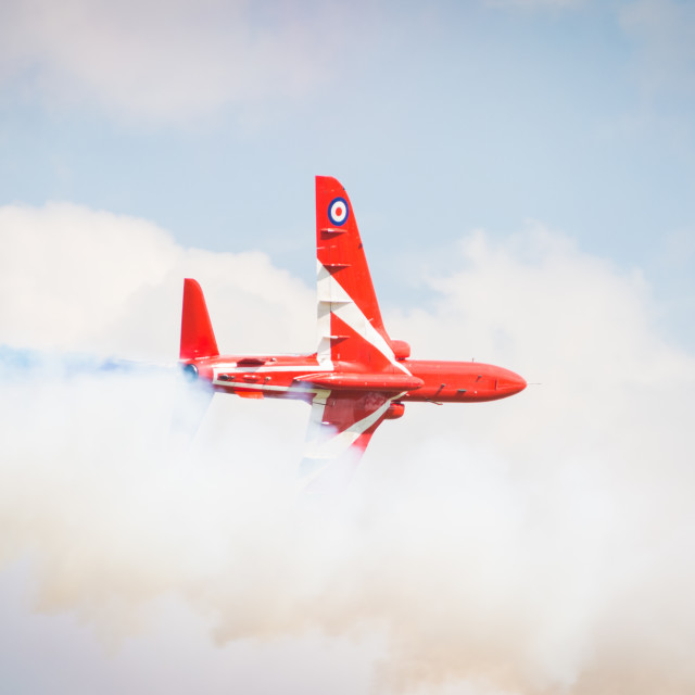 """""""Red Arrow lost in smoke"""" stock image"""