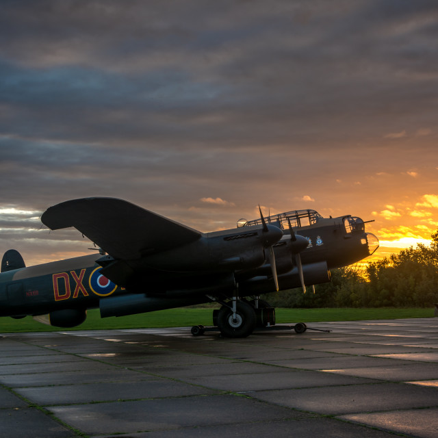 """""""Lancaster and tractor at sunset"""" stock image"""