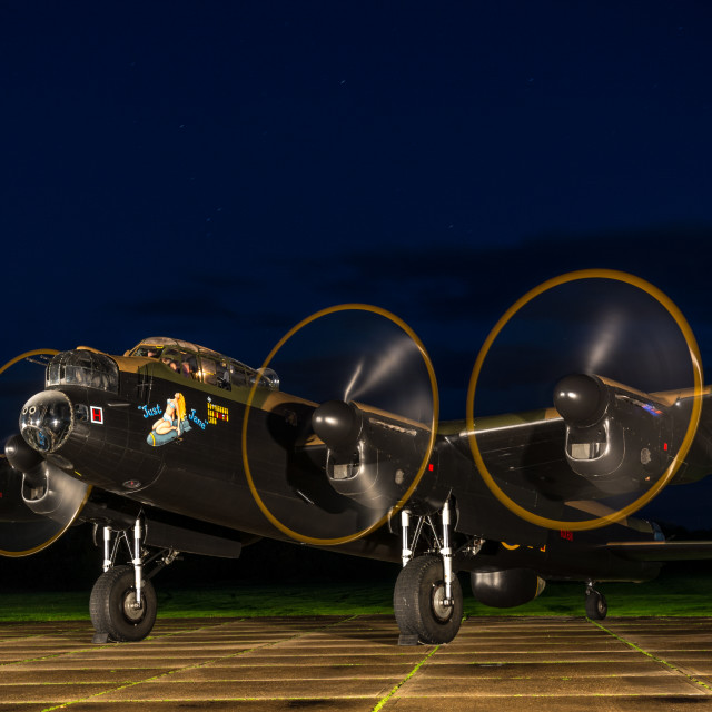"""""""Lancaster bomber with propellers running"""" stock image"""