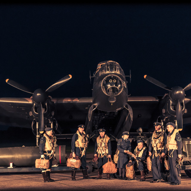 """""""Lancaster crew posing before a mission"""" stock image"""