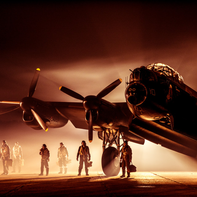 """""""Another atmospheric picture of Lancaster bomber and crew"""" stock image"""