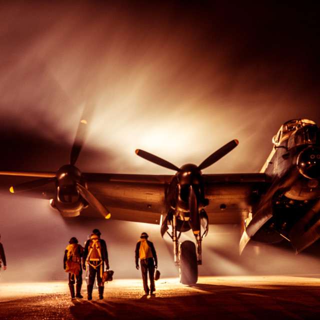"""""""Atmospheric picture of Lancaster bomber and crew"""" stock image"""